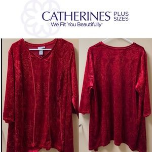 Catherine's Plus Red Velvet Like Top FREE SHIPPING